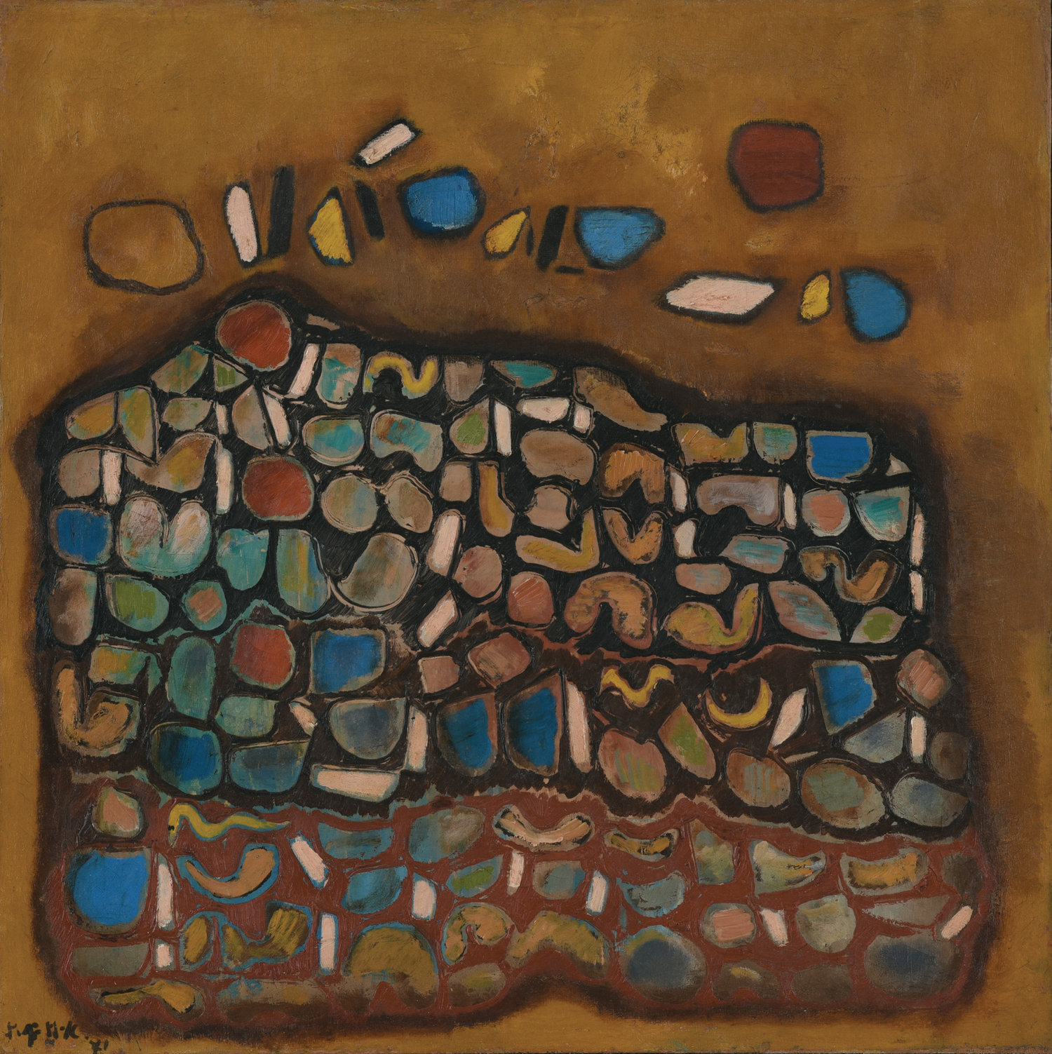 Fadjar Sidik, Dynamics, oil on canvas, 65 x 65 cm, 1971