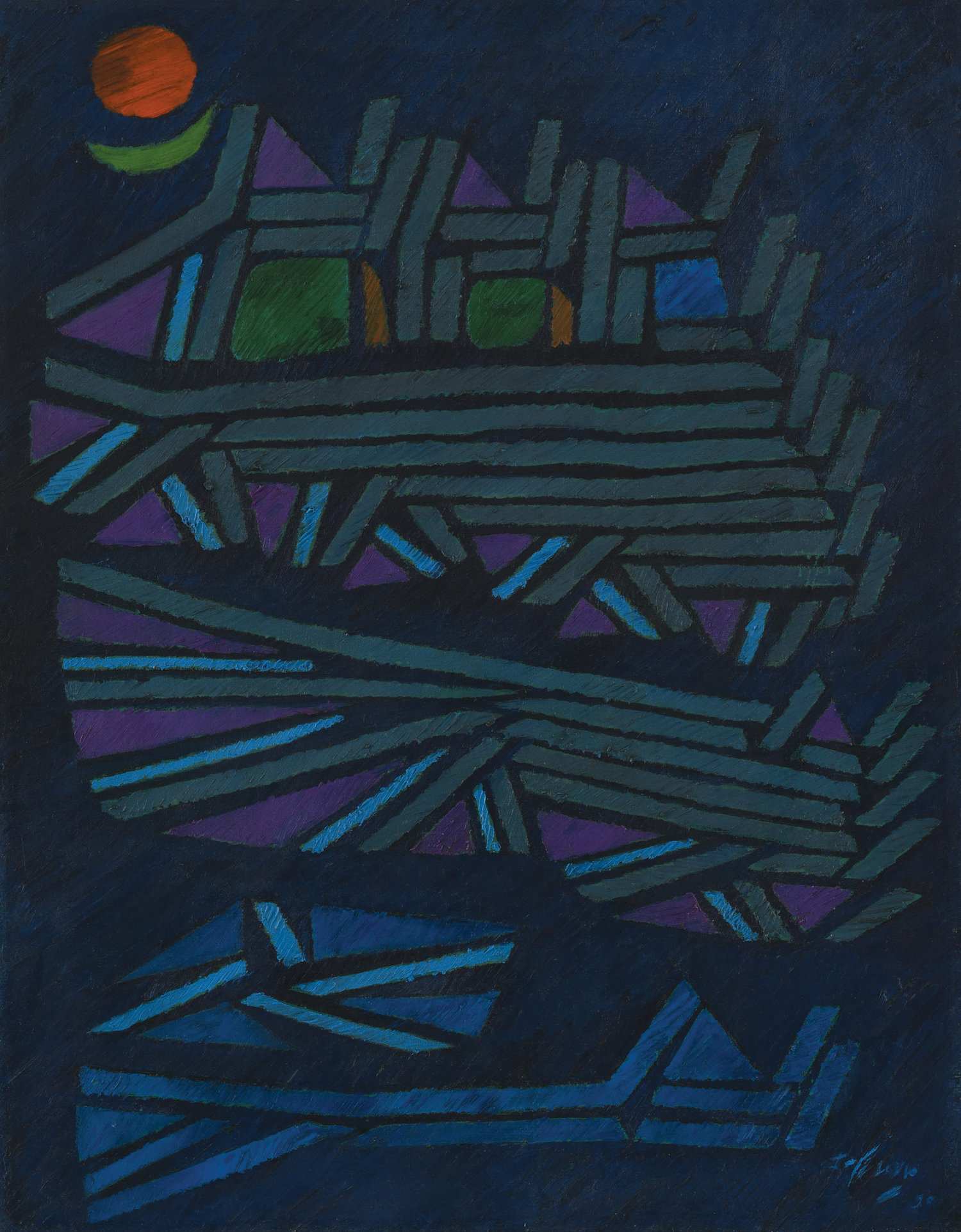 Fadjar Sidik, Space Dynamics, oil on canvas, 90 x 70 cm, 1990