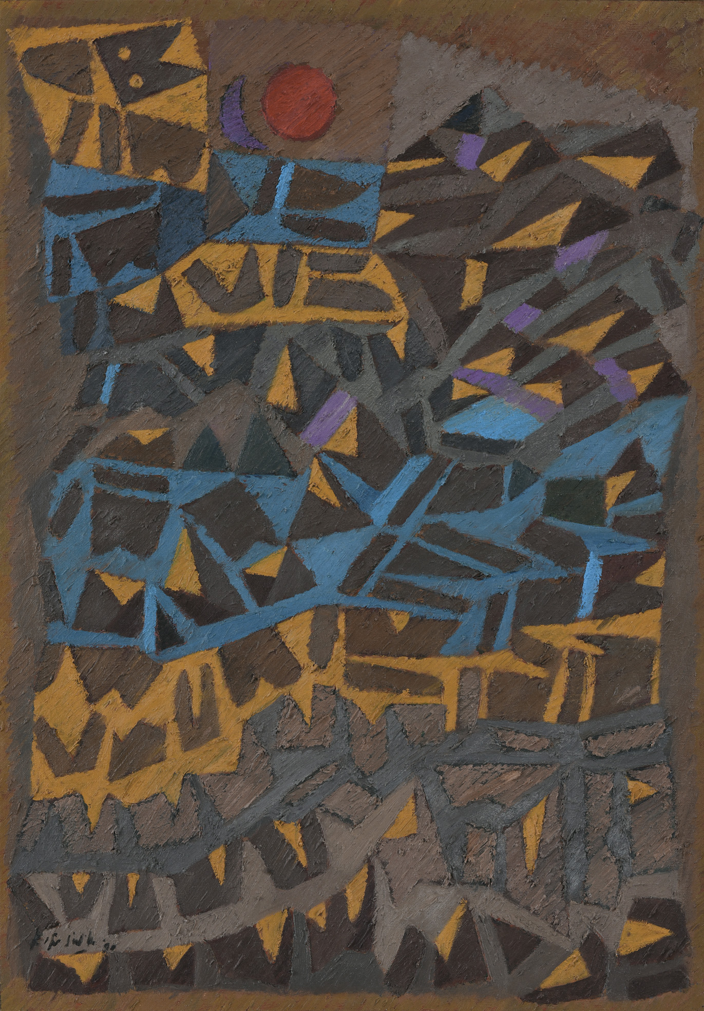 Fadjar Sidik, Space Dynamics, oil on canvas, 101 x 71 cm, 1990