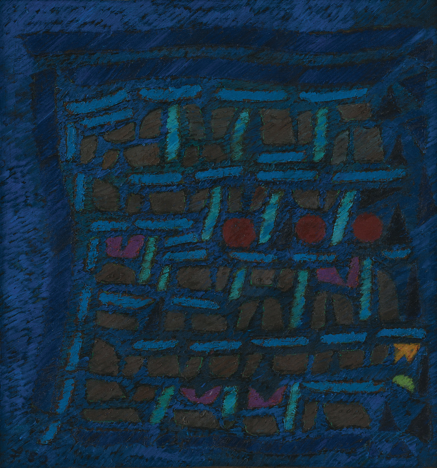 Fadjar Sidik, Space Dynamics Blue, oil on canvas, 69.5 x 65 cm, 1980