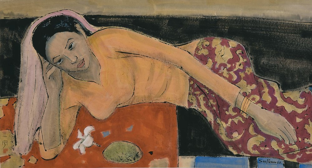 Cheong Soo Pieng, Odalisque, ink and colour on paper, 45.5 × 84 cm, 1960