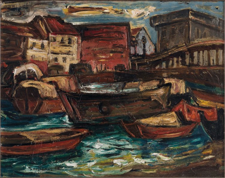 Cheong Soo Pieng, View of Boat Quay and Elgin Bridge,  oil on canvas, 40 × 50 cm, 1956