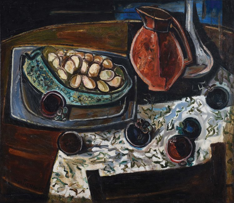 Cheong Soo Pieng, Still Life with Mangosteens, oil on masonite board, 59 × 68 cm, 1955
