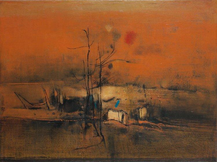 Cheong Soo Pieng, Vermilon Abstract, oil on canvas, 61 x 82 cm, 1965
