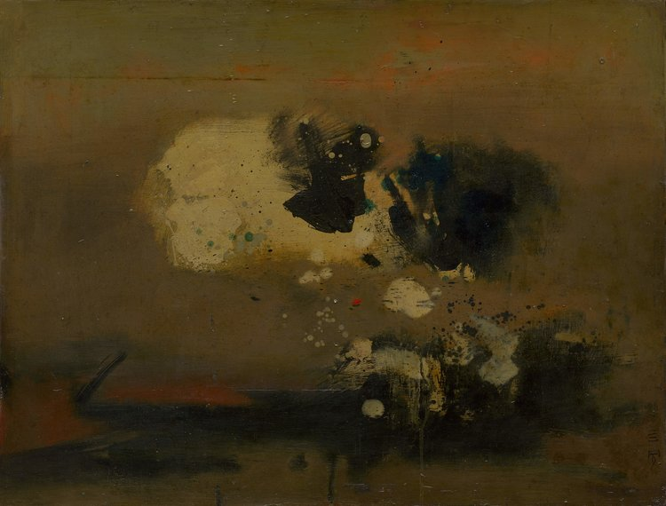 Cheong Soo Pieng, Abstract, oil on board, 64.5 x 84.5 cm, 19633