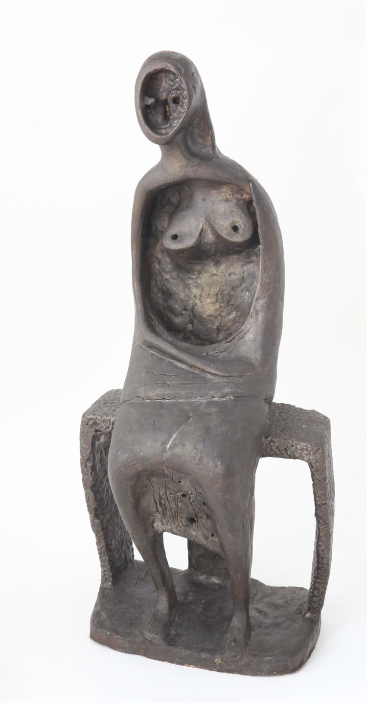 Cheong Soo Pieng, Woman, fired earthenware with glaze, 42.5 x 20 x 14 cm, 1972