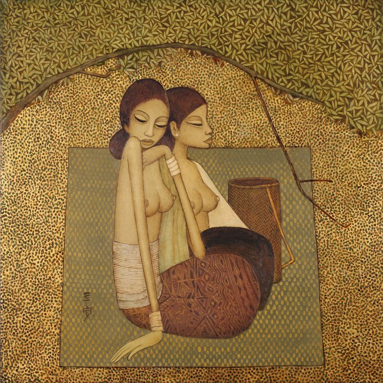 Cheong Soo Pieng, Balinese Maidens, oil on canvas, 84 x 84 cm, 1974