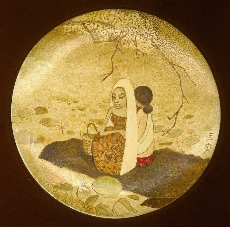 Cheong Soo Pieng, By the Lotus Pond, painted ceramic, approx. 25 cm, 1978