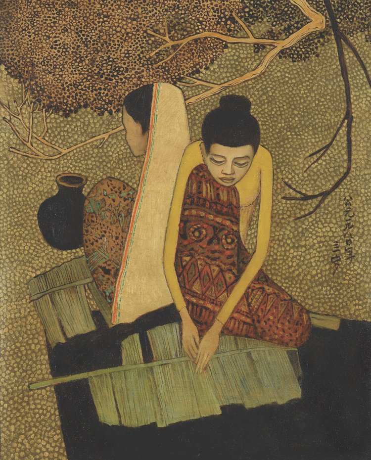 Cheong Soo Pieng, Malay Women, oil on canvas, 77 x 62 cm, 1980
