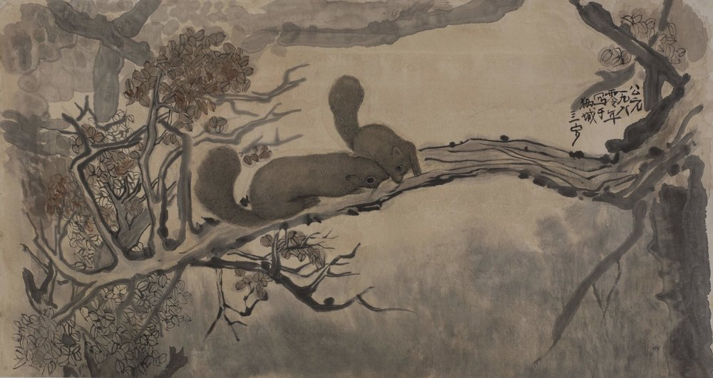 Cheong Soo Pieng, The Squirrels, ink and colour on silk, 62 x 116 cm, 1980