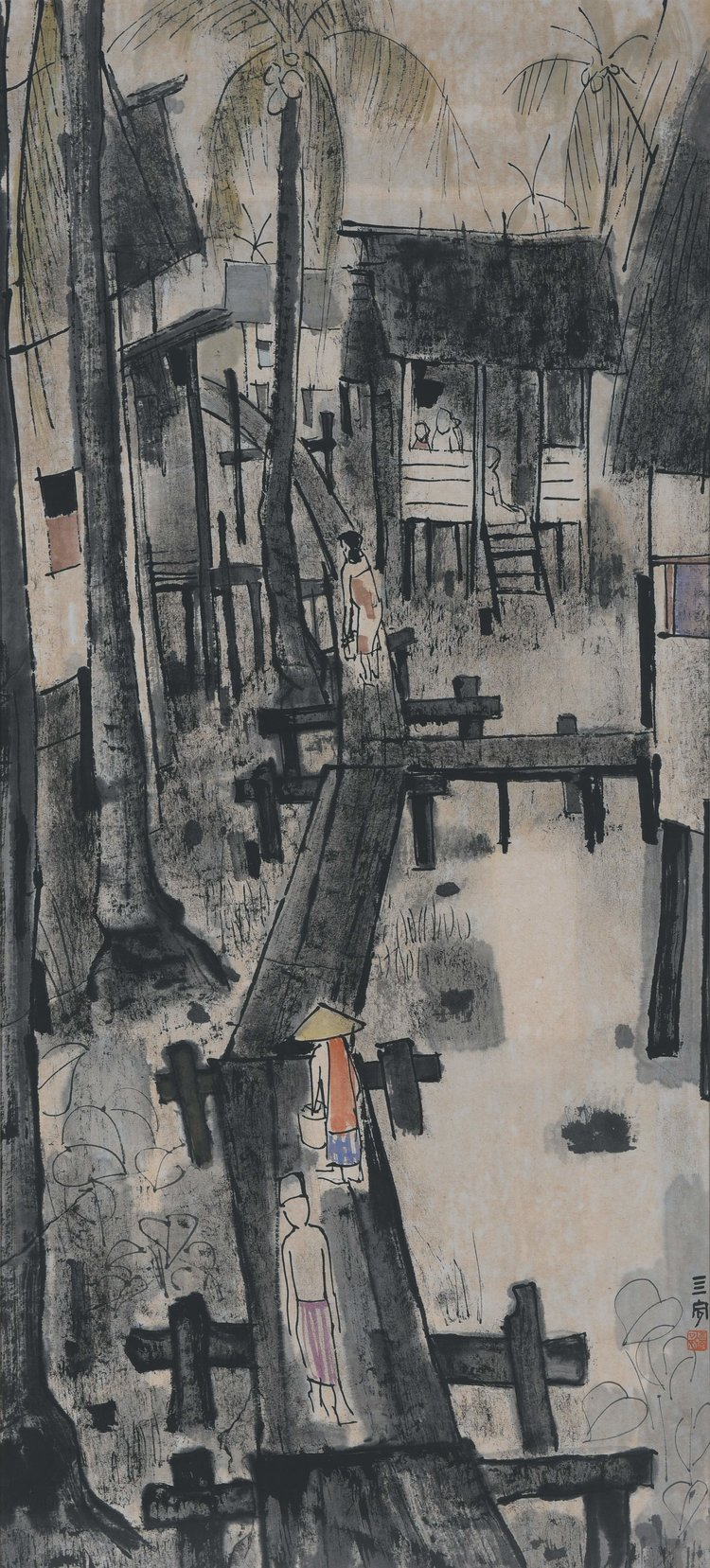 Cheong Soo Pieng, Untitled (Malay Village), ink and colour on paper, 94.5 x 43 cm