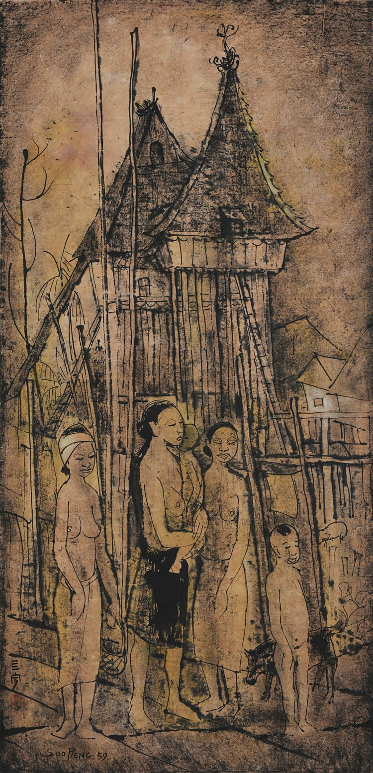 Cheong Soo Pieng, A Dayak Family and House, ink and colour on paper, 89 × 43.5 cm, 1959