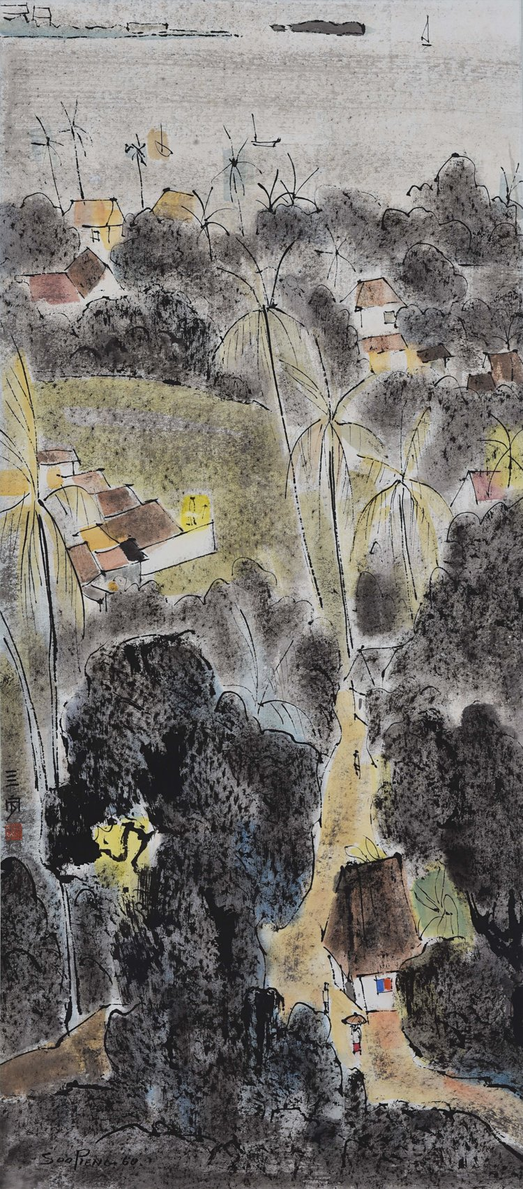Cheong Soo Pieng, Landscape with a Sea View, ink and colour on paper, 88 x 38.5 cm, 1960