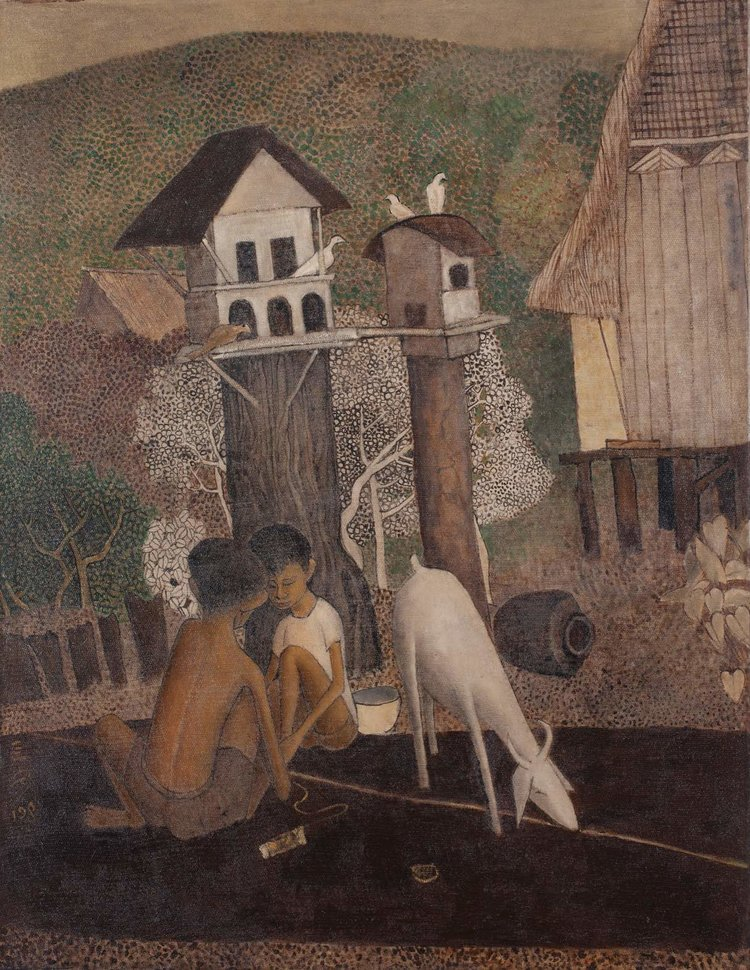 Cheong Soo Pieng, Malay Boys with Goat, oil on canvas, 109.5 x 85 cm, 1981
