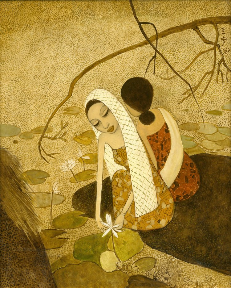 Cheong Soo Pieng, By the Lotus Pond, oil on linen laid on canvas, 91 x 66 cm, 1980