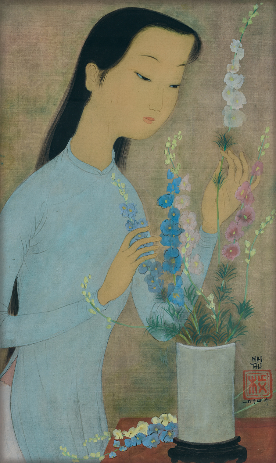 Mai Trung Thu, Jeune Femme Arrangeant des Fleurs (Young Woman Arranging Flowers), ink and gouache on silk, 46.5 x 28.5 cm, 1954