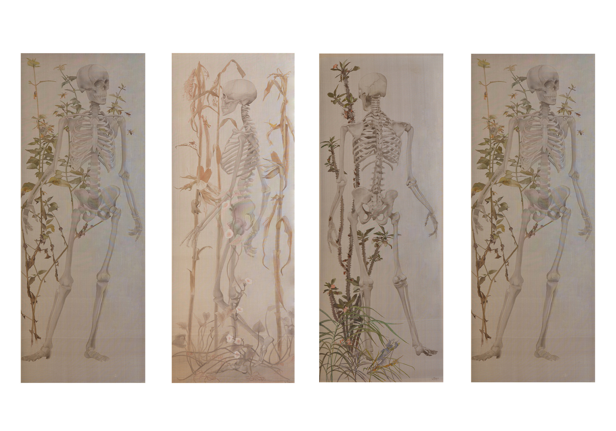 Le Thuy, Walking in the Garden I-IV, watercolour on silk, 170 x 62 cm (each), 2016