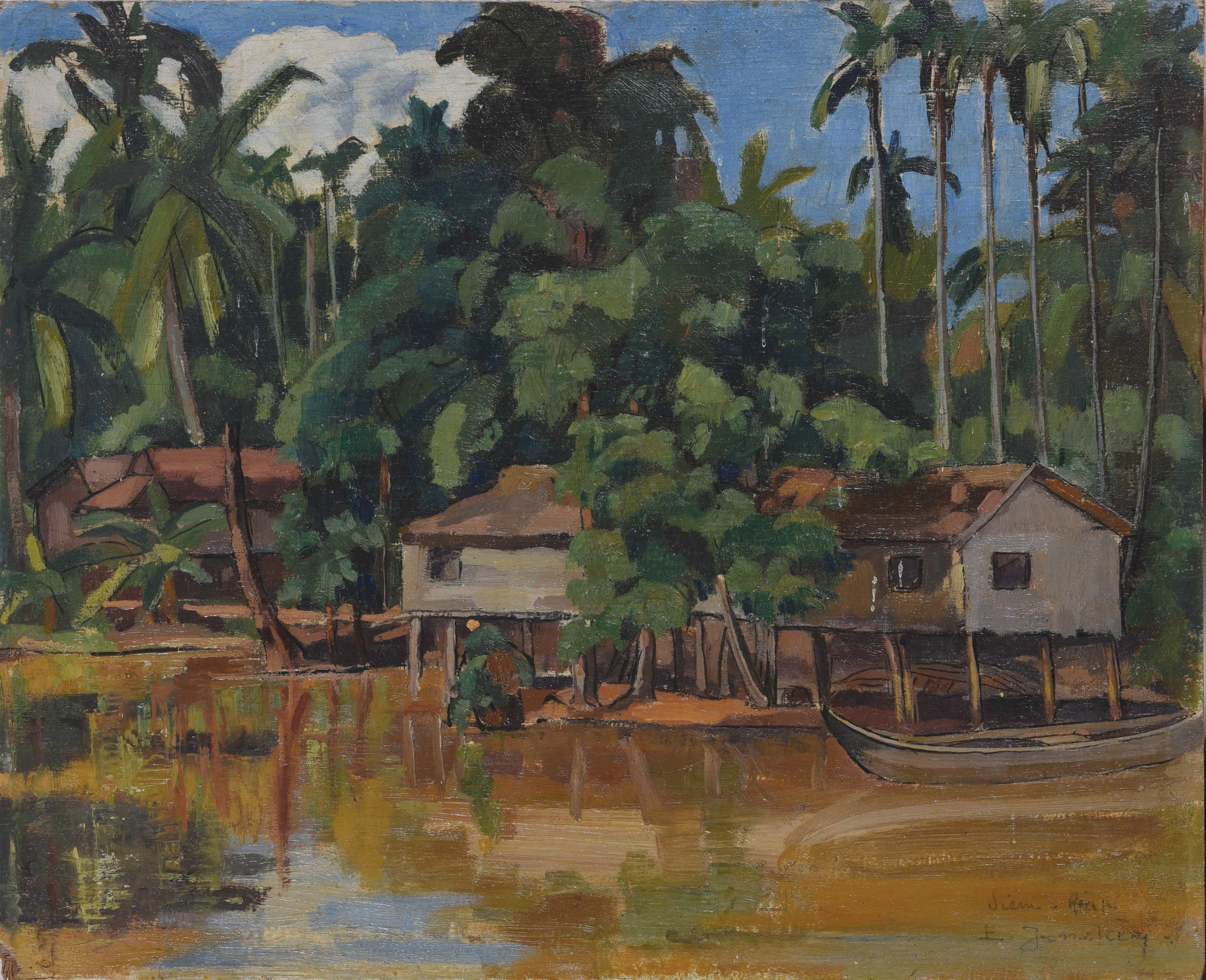 Évariste Jonchère, Siem Reap. Village au bord de la rivière (Siem Reap. Village by the river), 1932