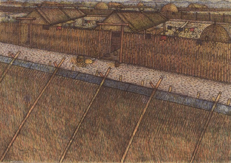 Damrong Wong-Uparaj, Thai Village, pastel and ballpoint on paper laid down on board, 27 x 38 cm, 1976