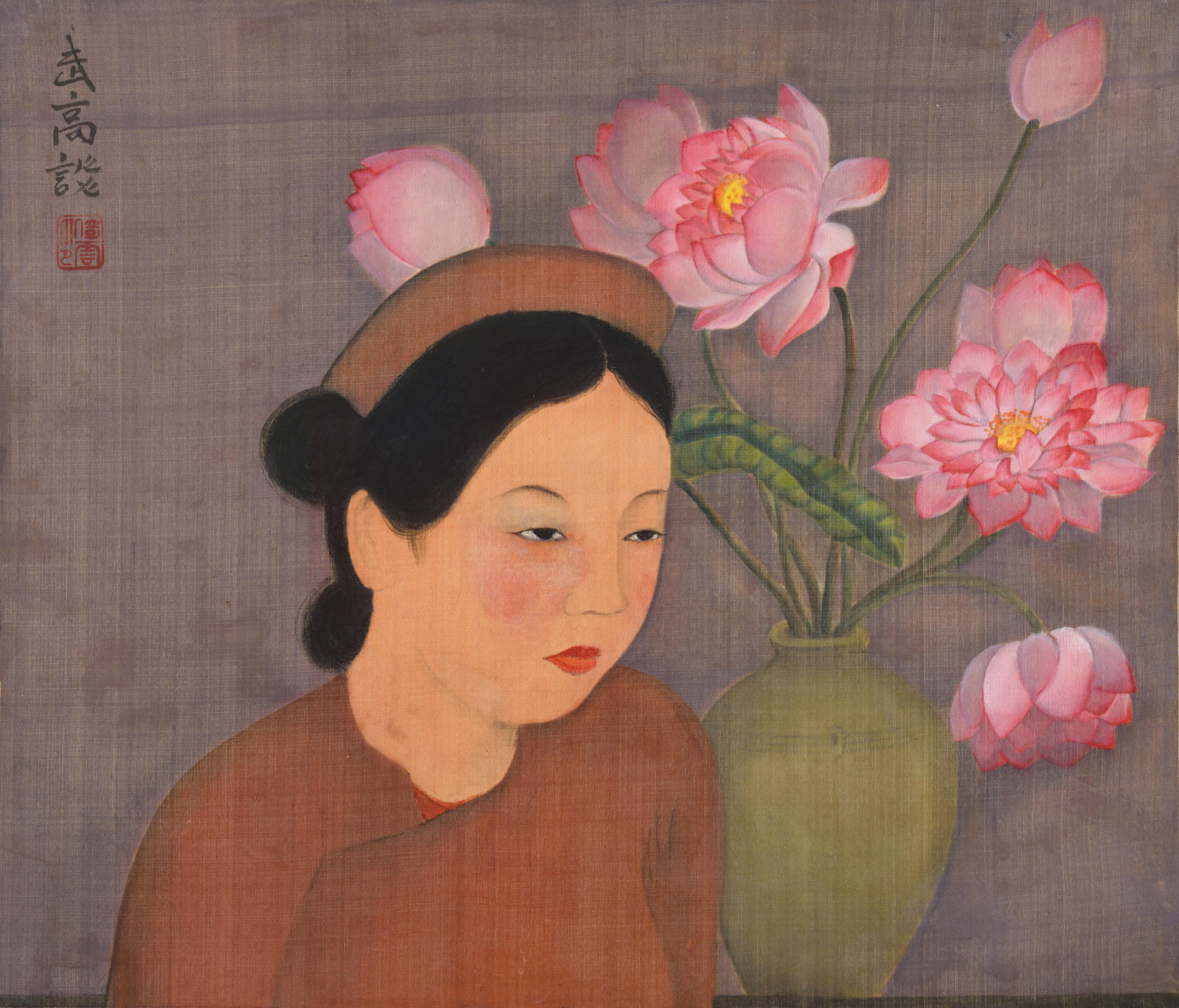Vu Cao Dam, Portrait d'une jeune fille aux lotus (Portrait of a Young Lady with Lotus), ink and gouache on silk, 56 x 64 cm, c. 1930
