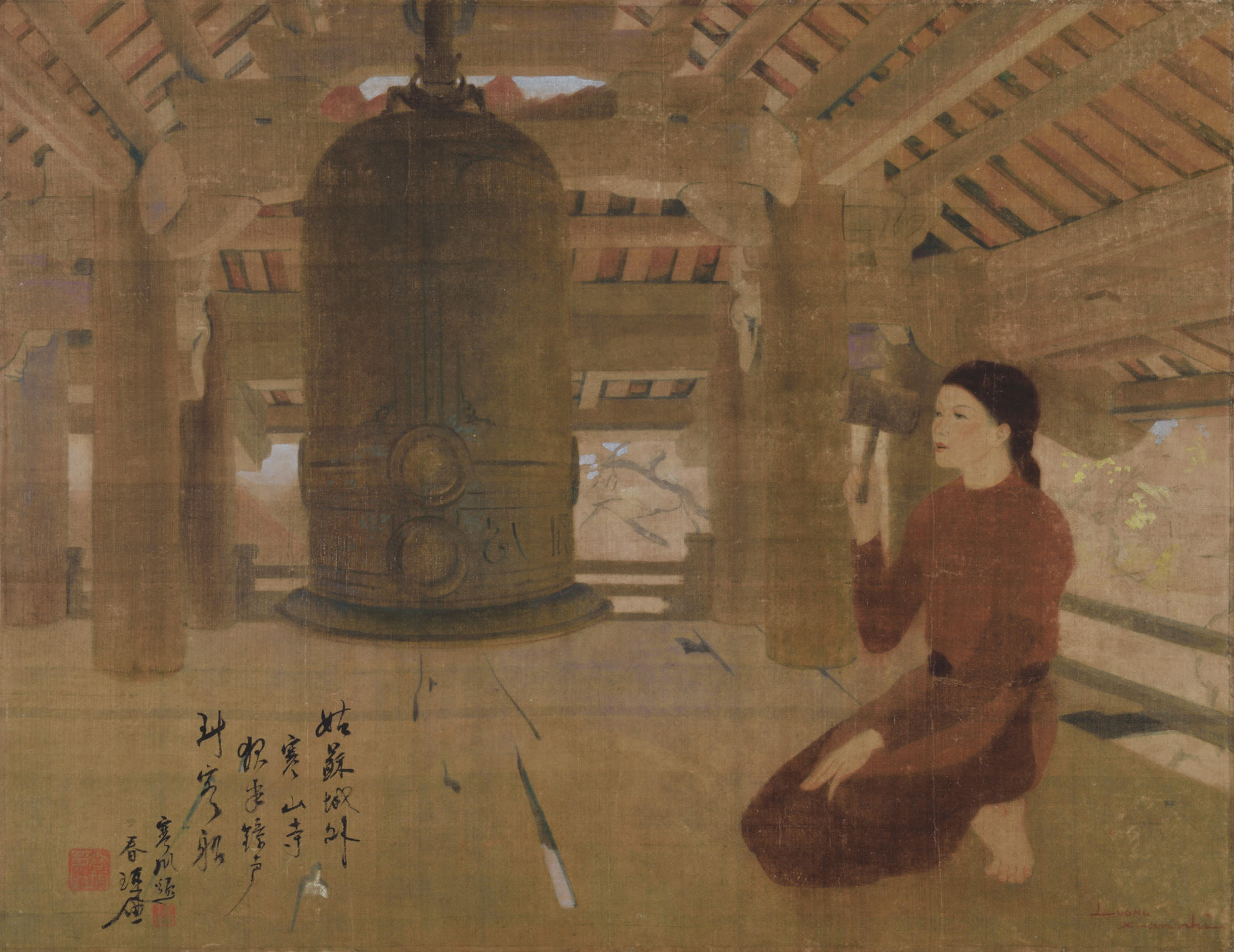 Luong Xuan Nhi, Late Afternoon Chimes, ink and gouache on silk, 45.5 x 59 cm, 1940