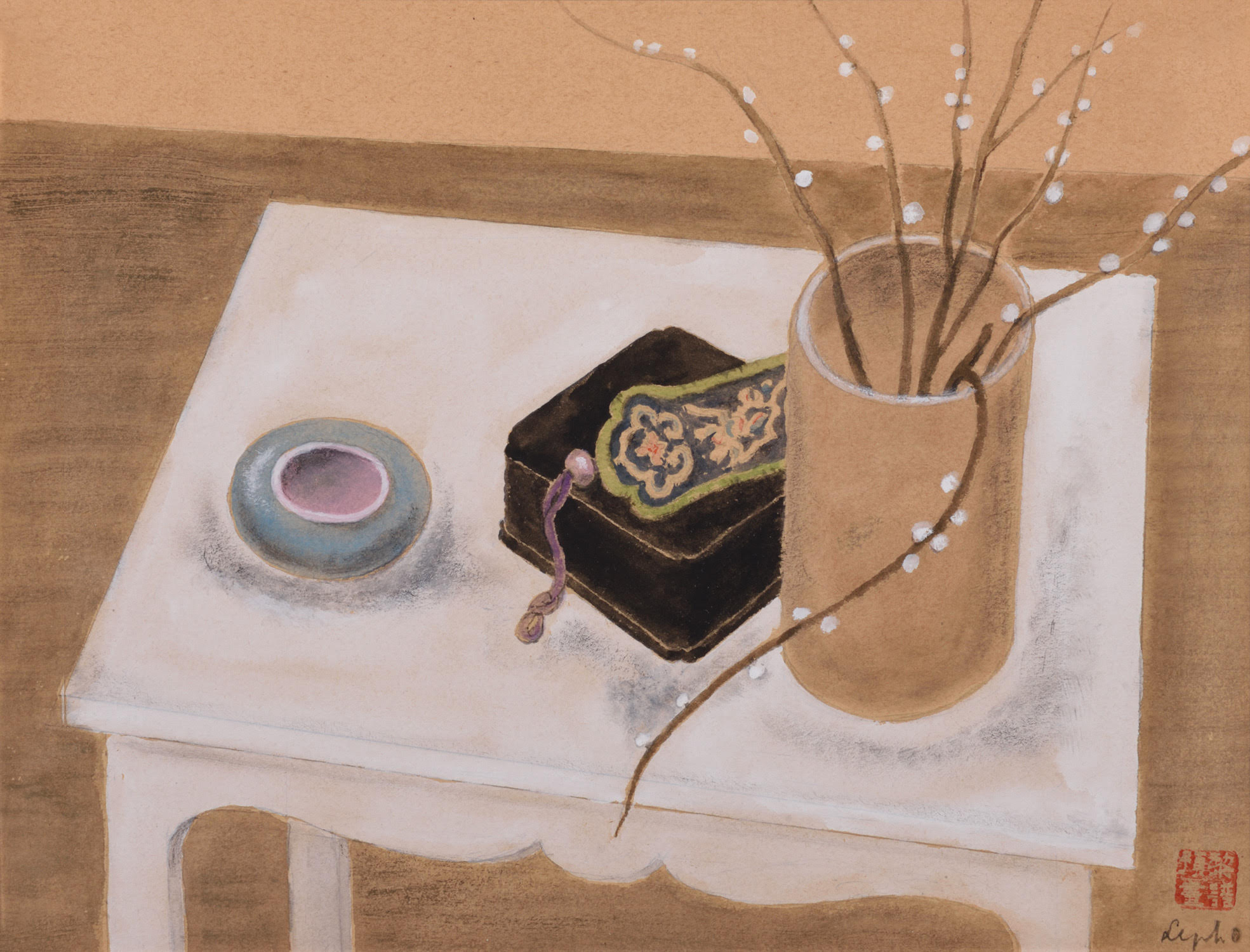 Le Pho, Nature Morte au Saule Blanc (Still Life with Pussy Willow), ink and gouache on board, 23 x 31 cm, c. 1937-1938