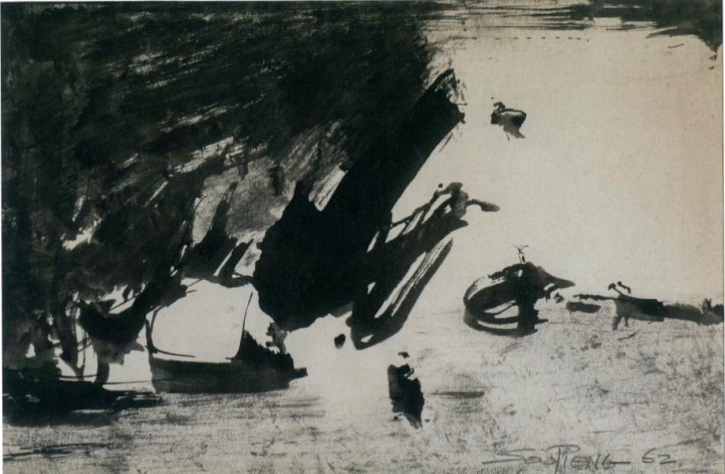 Cheong Soo Pieng, Abstract Composition III, ink on paper, 15 x 22.5 cm, 1962
