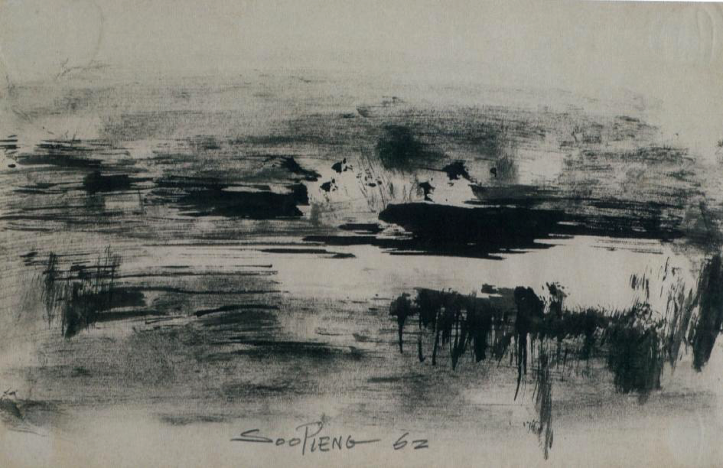 Cheong Soo Pieng, Abstract Composition I, ink and colour on paper, 15 x 22.5 cm, 1962