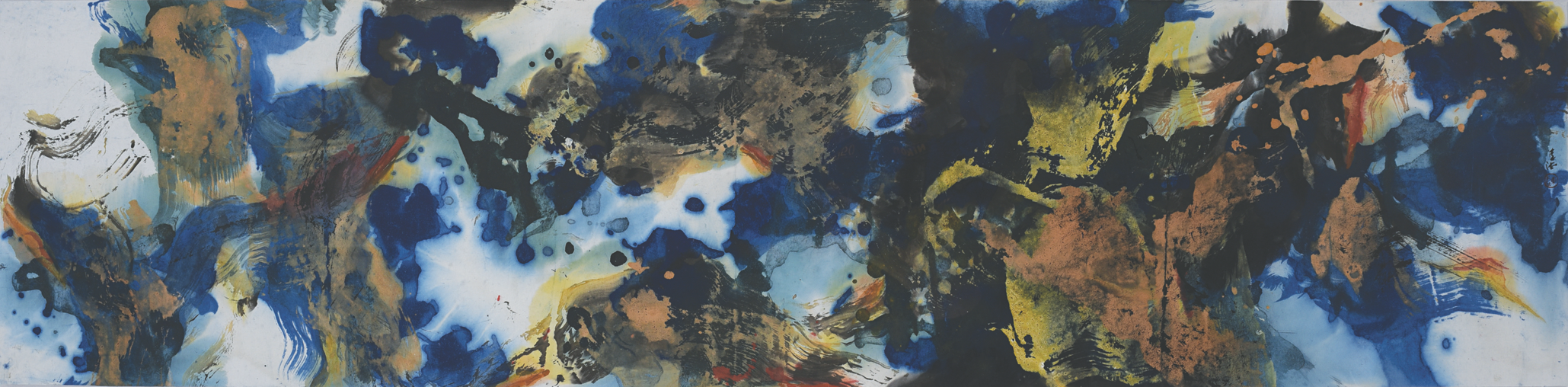 Henri Chen Kezhan, Untitled, ink and colour pigment on rice paper, 40 x 138 cm