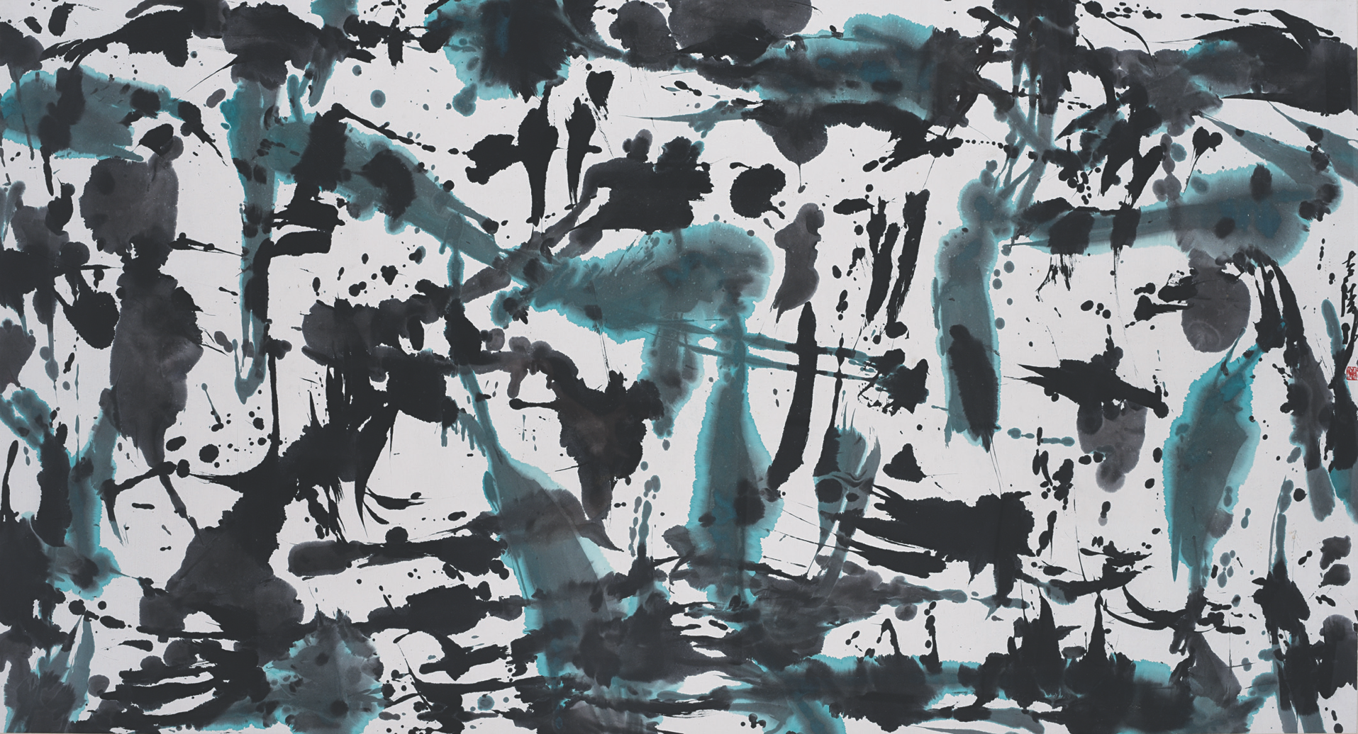 Zhuang Shengtao, Autumn Series, ink and pigment on rice paper, 96.5 x 179 cm, 1996