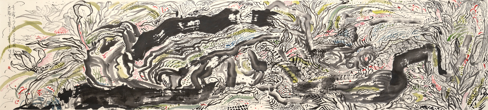 Tan Oe Pang, The Precious Stone and Orchid, ink and pigment on rice paper, 53 x 243 cm
