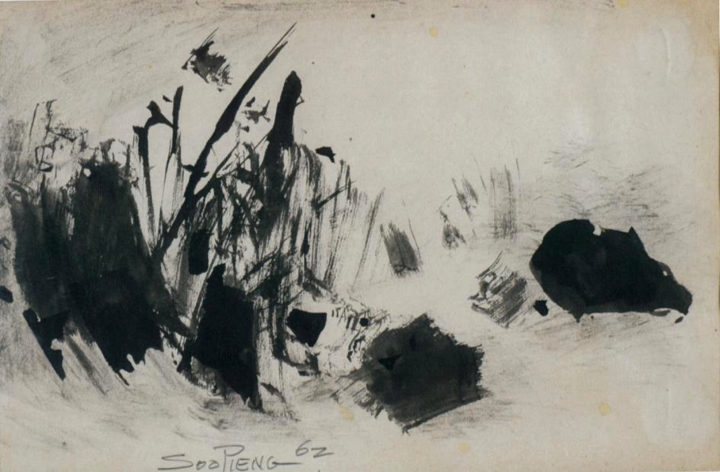 Cheong Soo Pieng, Abstract Composition II, ink on paper, 15 x 22.5 cm, 1962