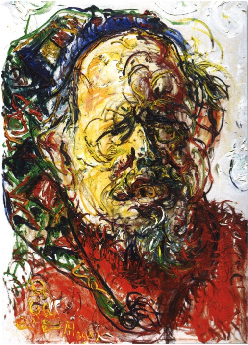 Affandi, Self Portrait as a Snowman, 1957, 133 x 94 cm