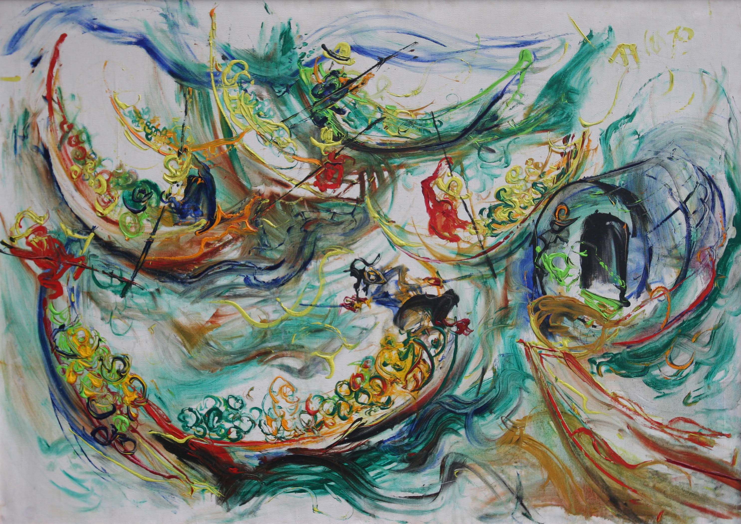 Affandi, The Floating Market in Bangkok, 1970, 90 x 130 cm