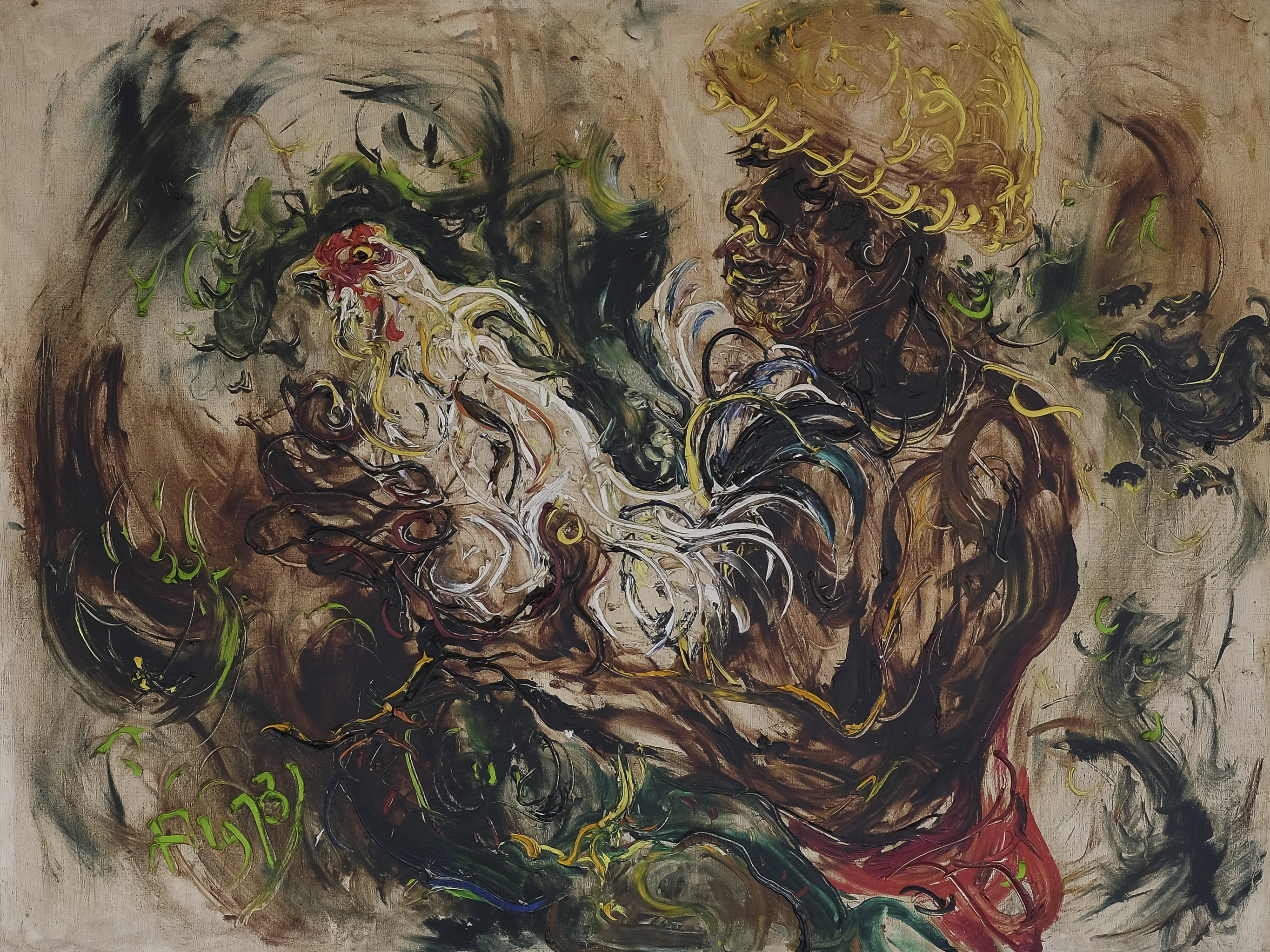 Affandi, Man with Cockerel, 1973, 98 x 130 cm