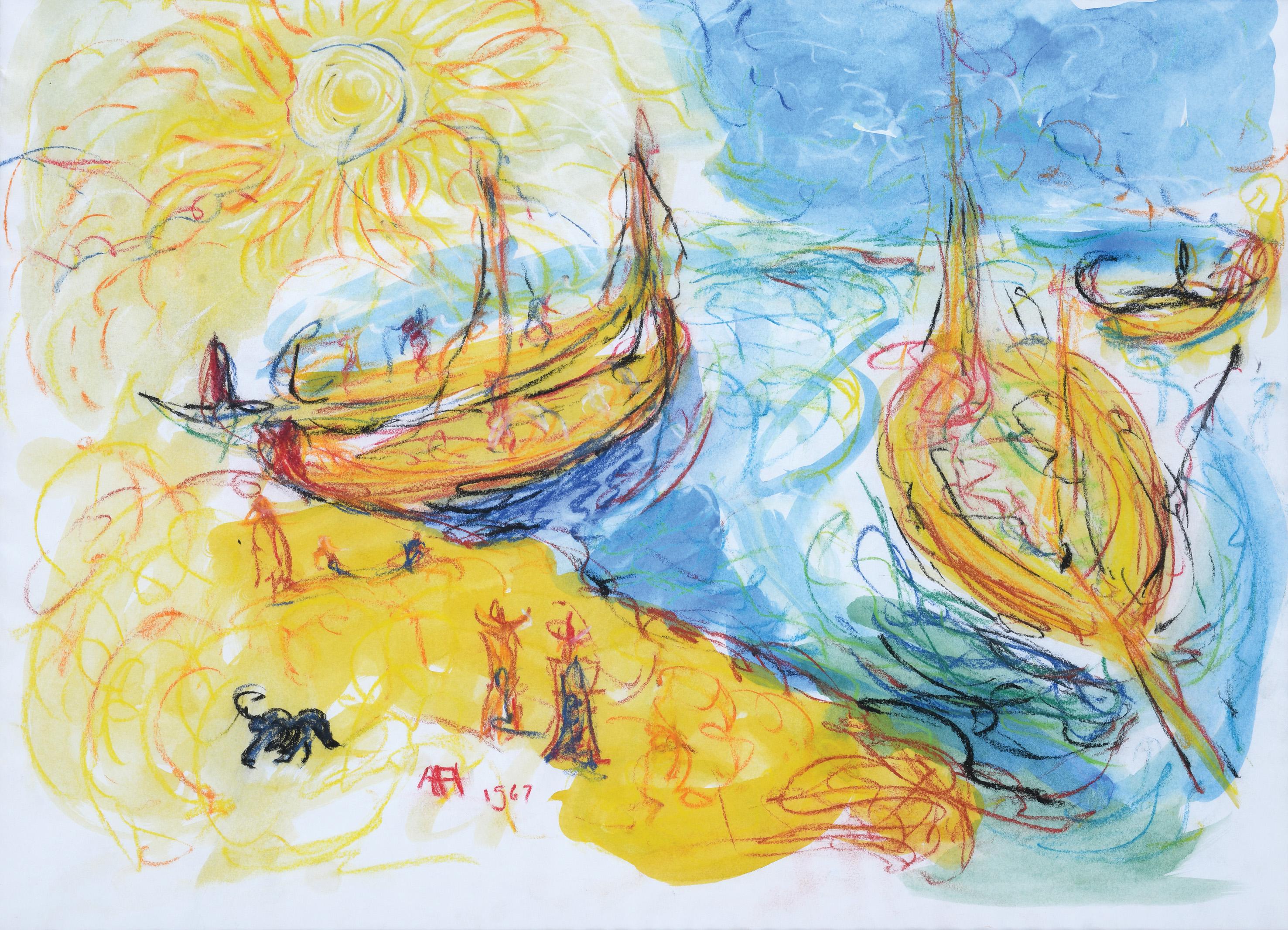 Affandi, Boats, 1967, 43 x 59 cm