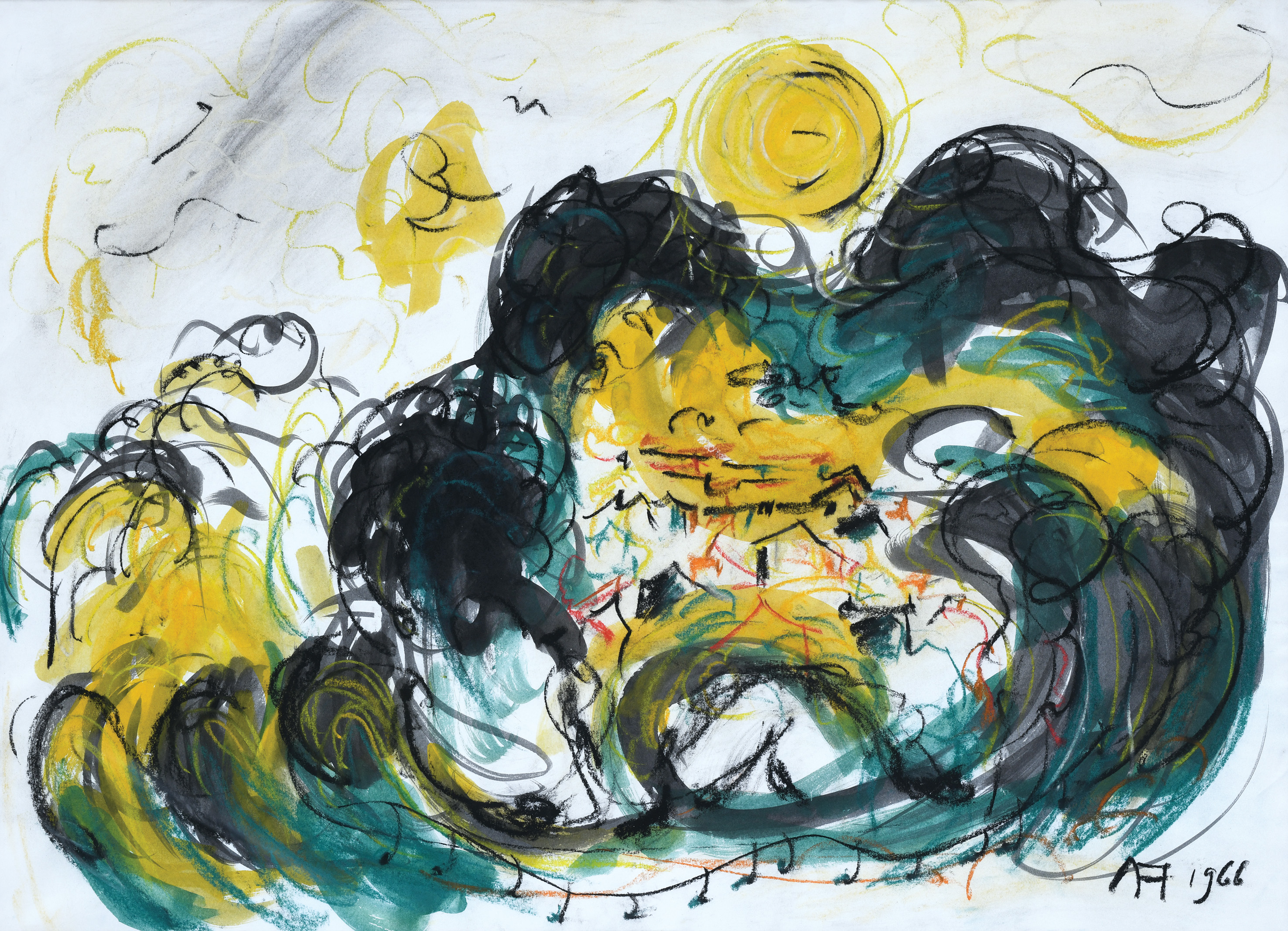 Affandi, Landscape, 1966, 43 x 59 cm