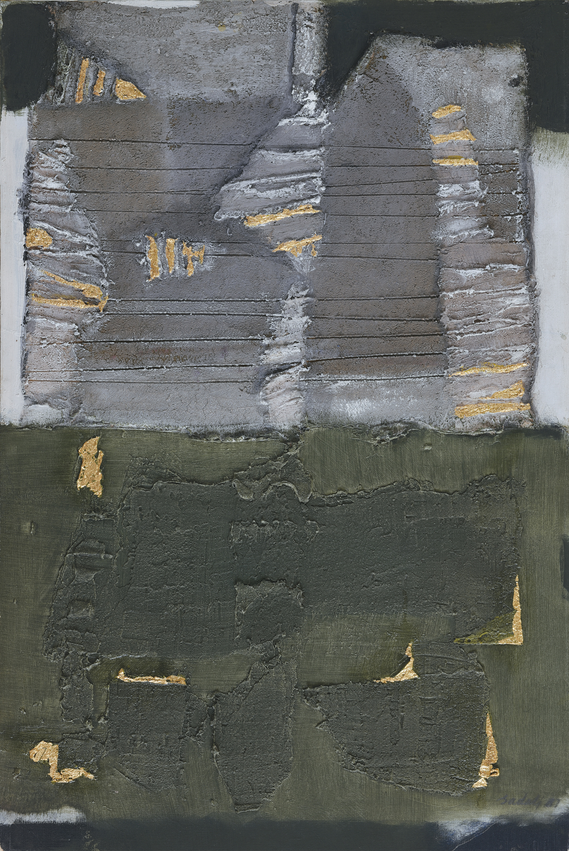 Ahmad Sadali, Komposisi Abu-Abu Hijau dan Emas (Gray, Green and Gold Composition), 1987, 75 x 50 cm