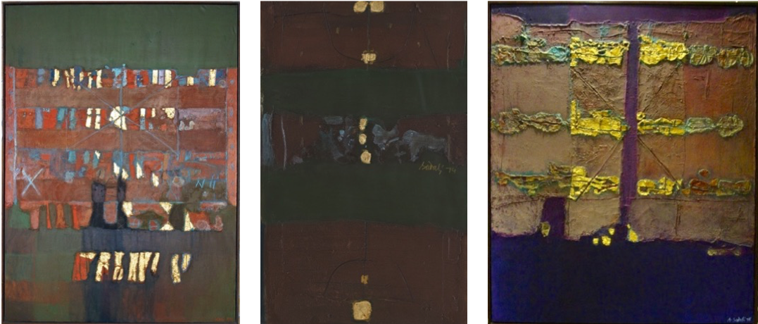 Ahmad Sadali, Abstract (1978), Untitled (1974), Untitled (1975).