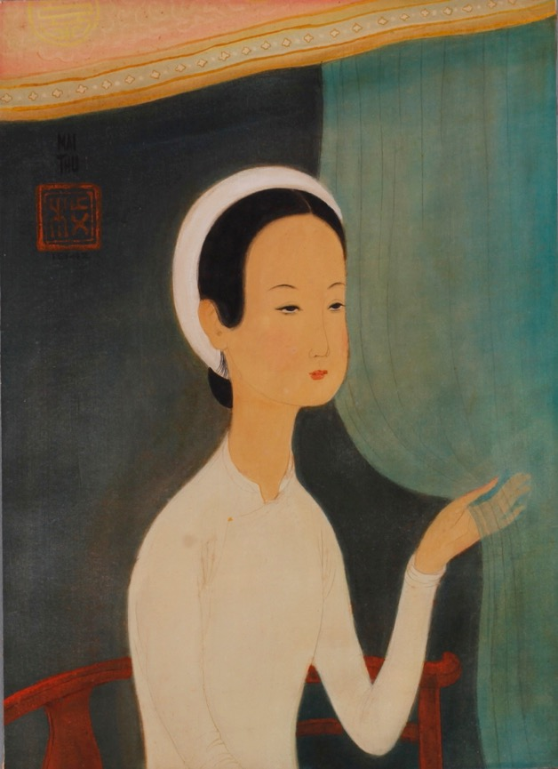 Mai Trung Thu, Beauty in White, watercolour and gouache on silk, 33 x 42 cm, 1942