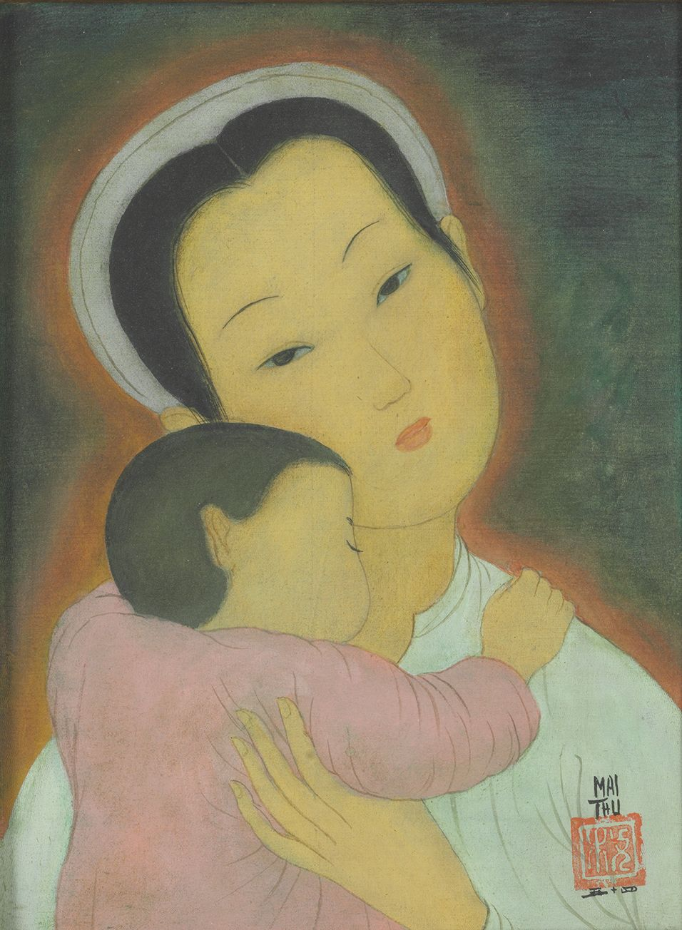 Mai Trung Thu, Woman With Child, watercolour and gouache on silk, 24 x 18 cm, 1954.jpeg