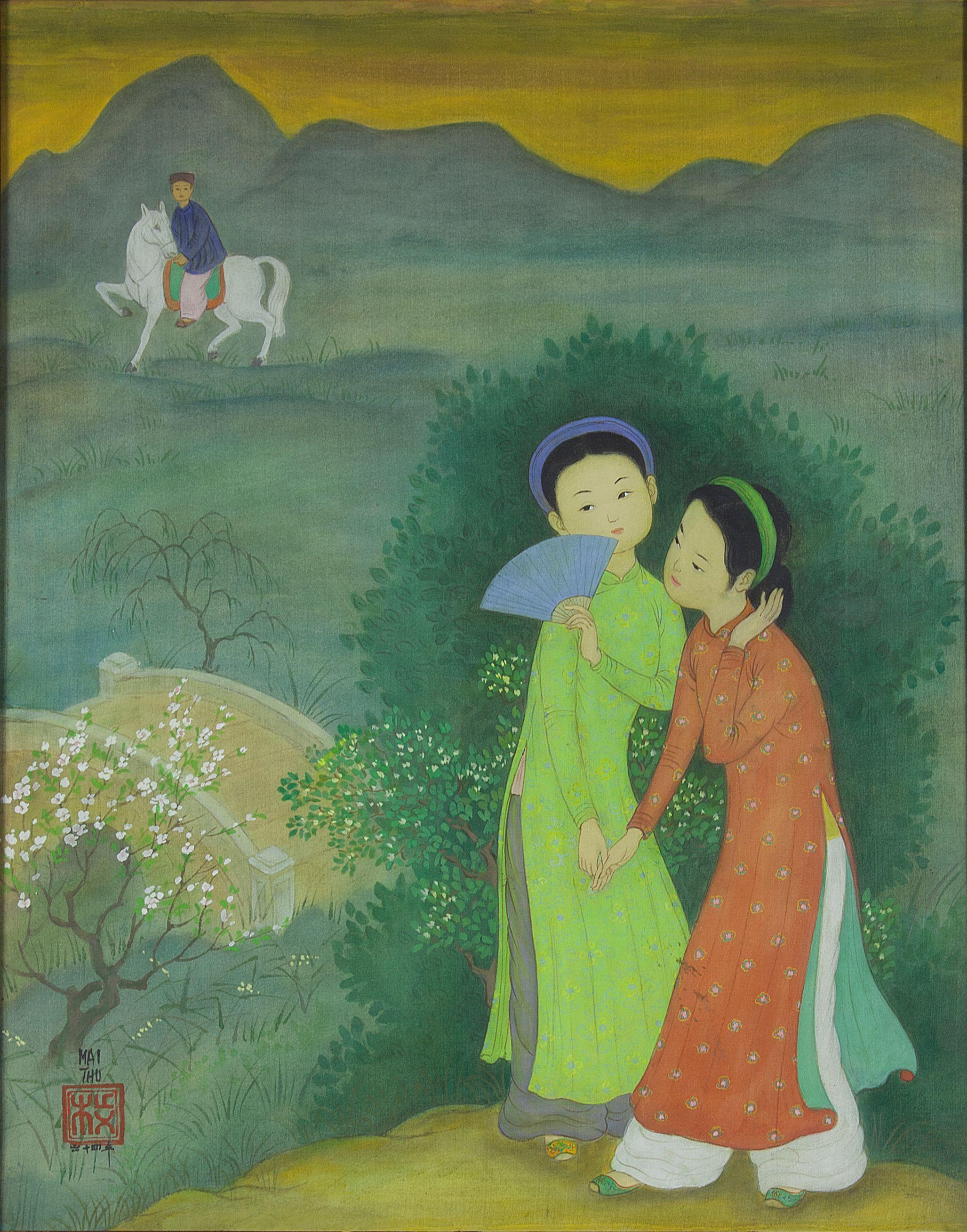 Srihadi Soedarsono, Legong Lasem (Two Dancers), 1986, 100 x 135 cm
