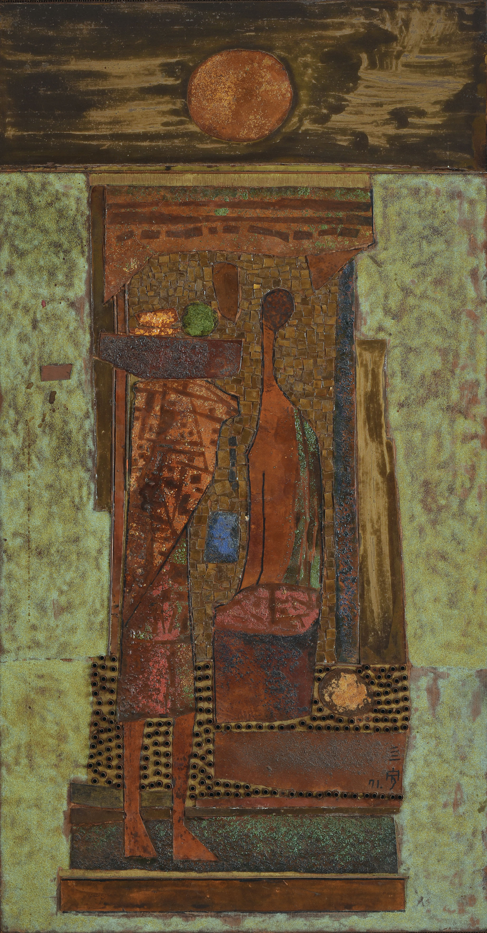 Cheong Soo Pieng, Noon, mixed media on board, 96.5 x 51 cm, 1970-71