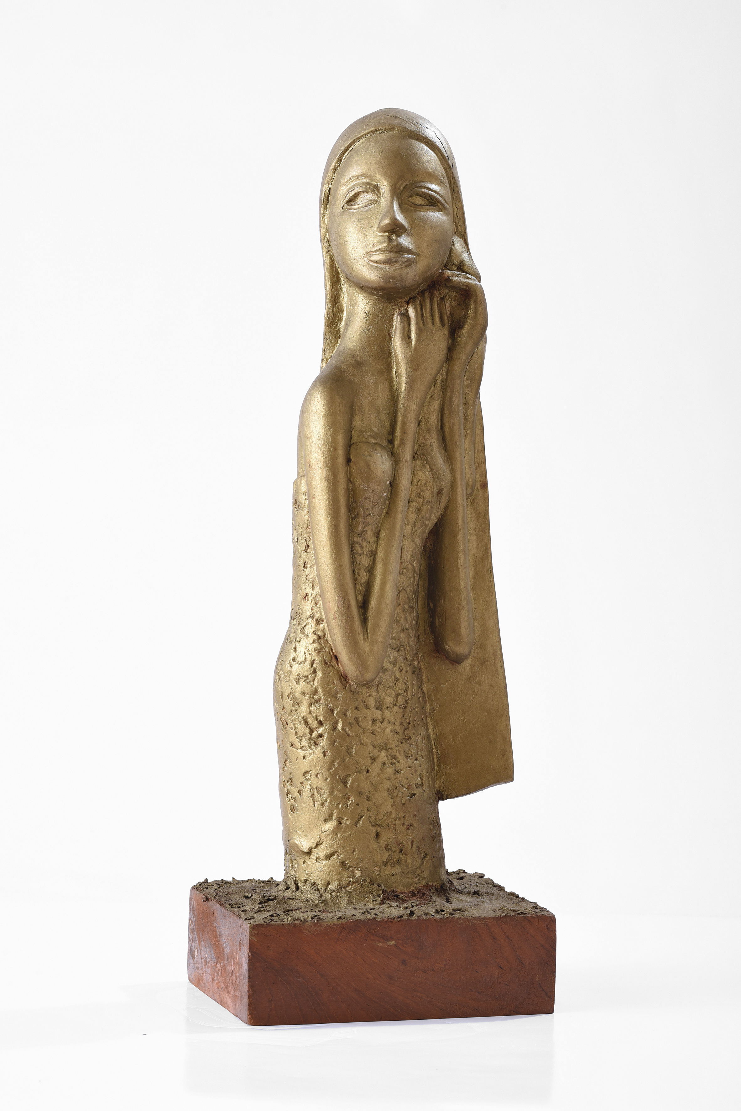 Cheong Soo Pieng, Malay Lady, fired earthenware with glaze on original base, 48 x 16.5 x 12.5 cm, 1970s