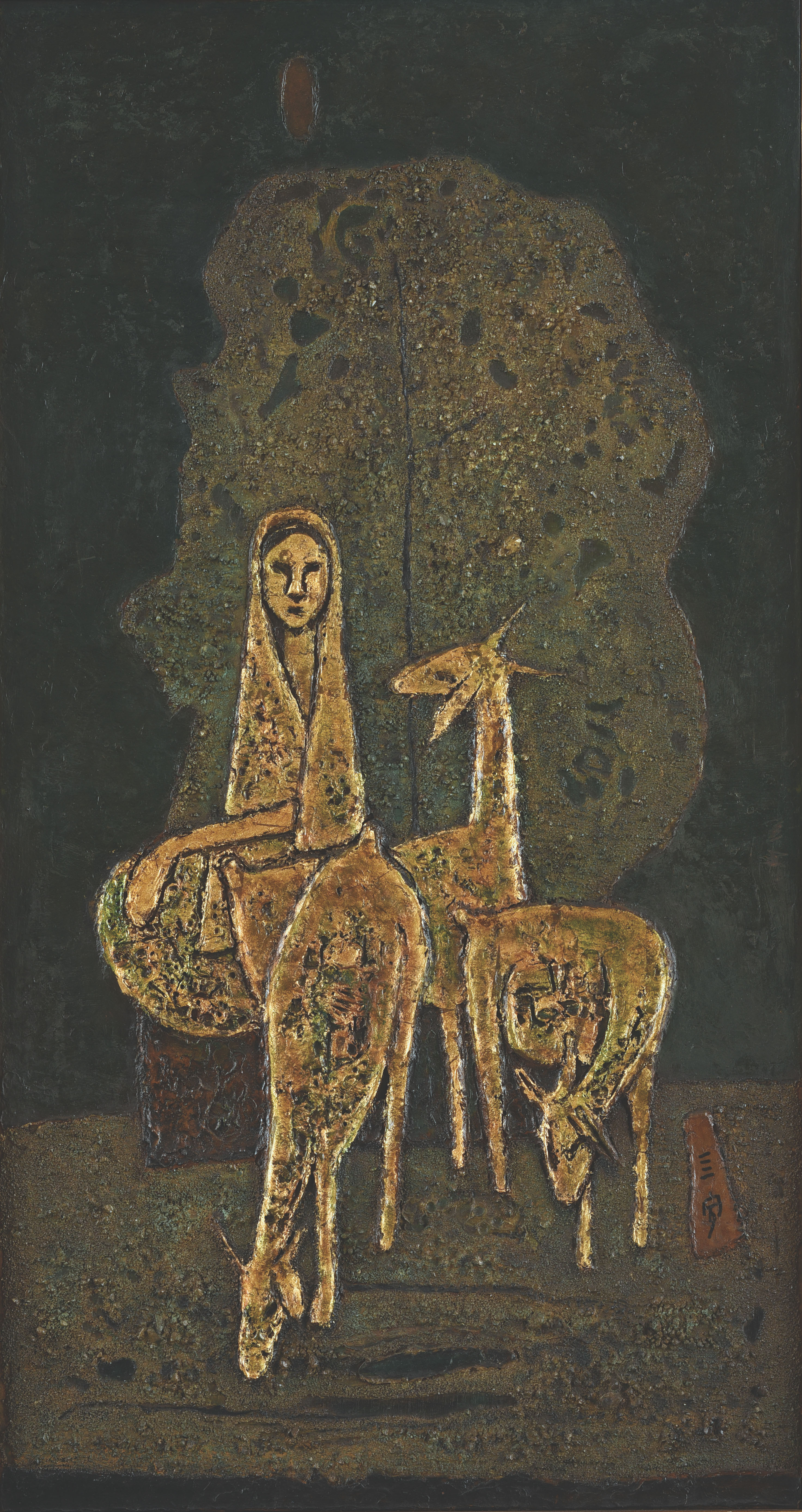 Cheong Soo Pieng, Malay Woman with Three Goats, mixed media on board, 97 x 51 cm, 1972