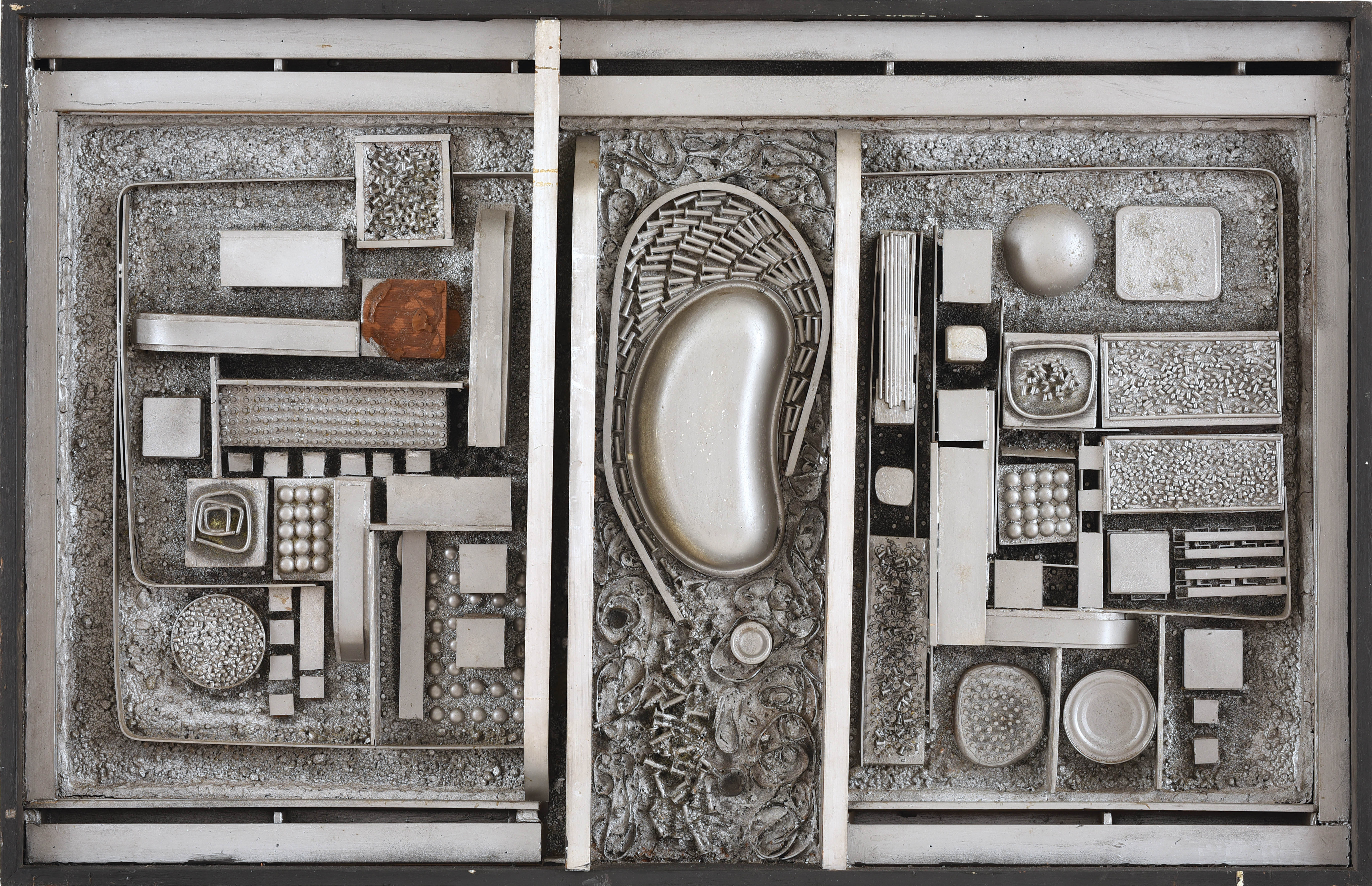 Cheong Soo Pieng, Construction, mixed media, 68.5 x 107 x 7 cm, 1966