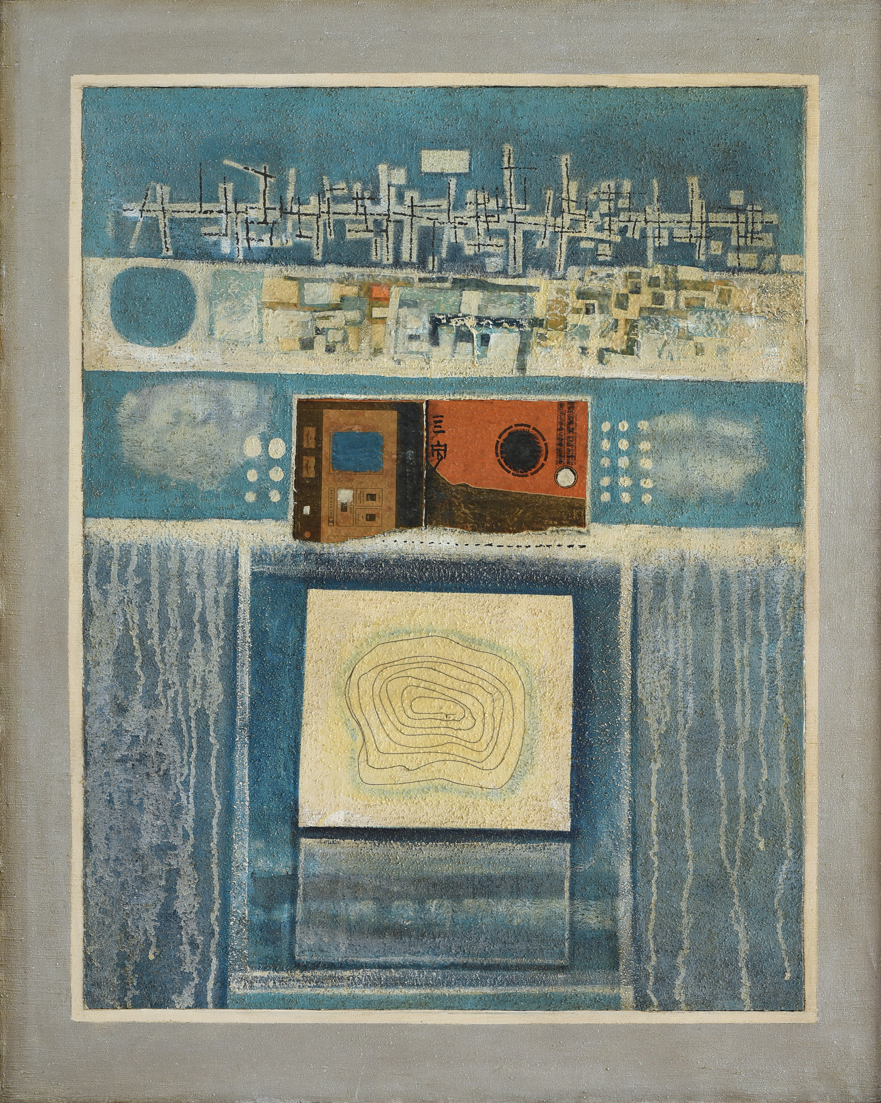 Cheong Soo Pieng, Blue Composition, mixed media on canvas, 101 x 81 cm, 1974