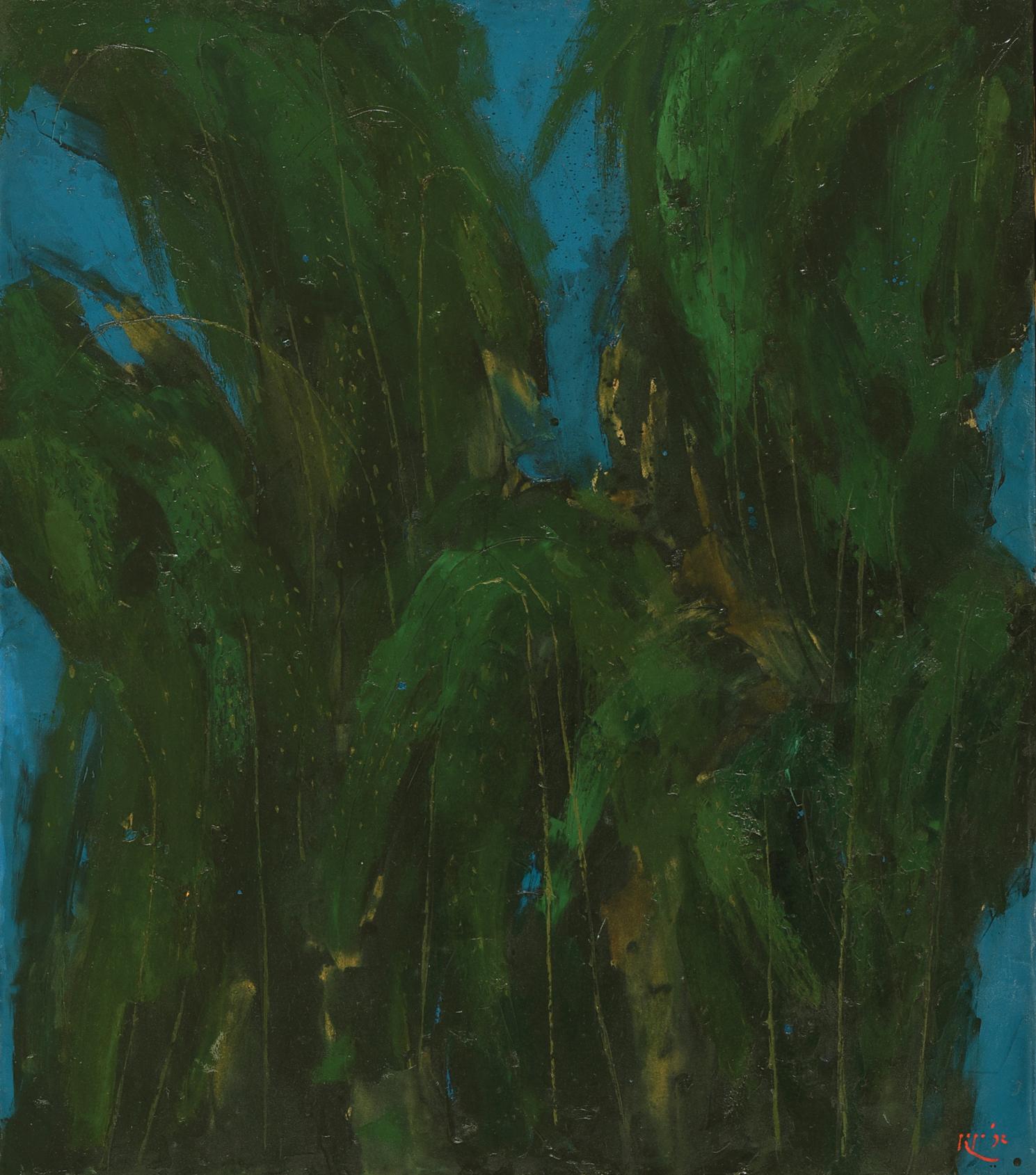 Popo Iskandar, Bamboo II, oil on canvas, 124.5 x 142.5 cm, 1992