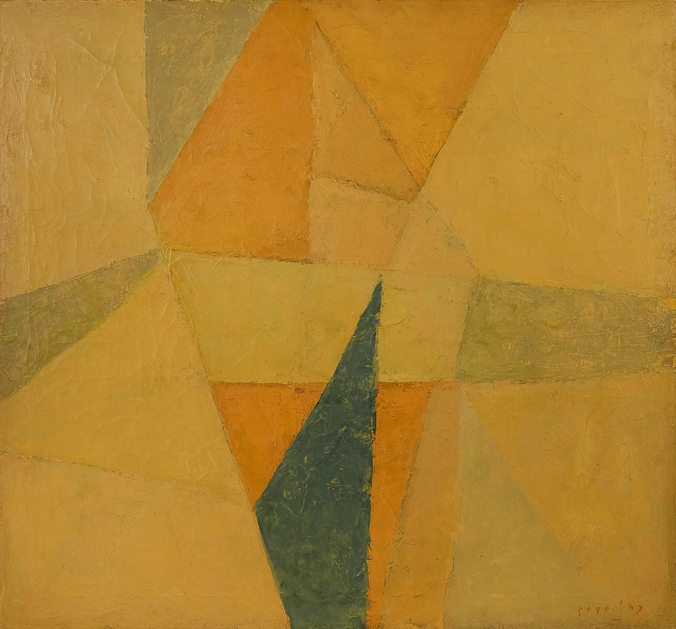 Popo Iskandar, Bunga Kuning (Yellow Flower), oil on canvas, 60 x 65 cm, 1967