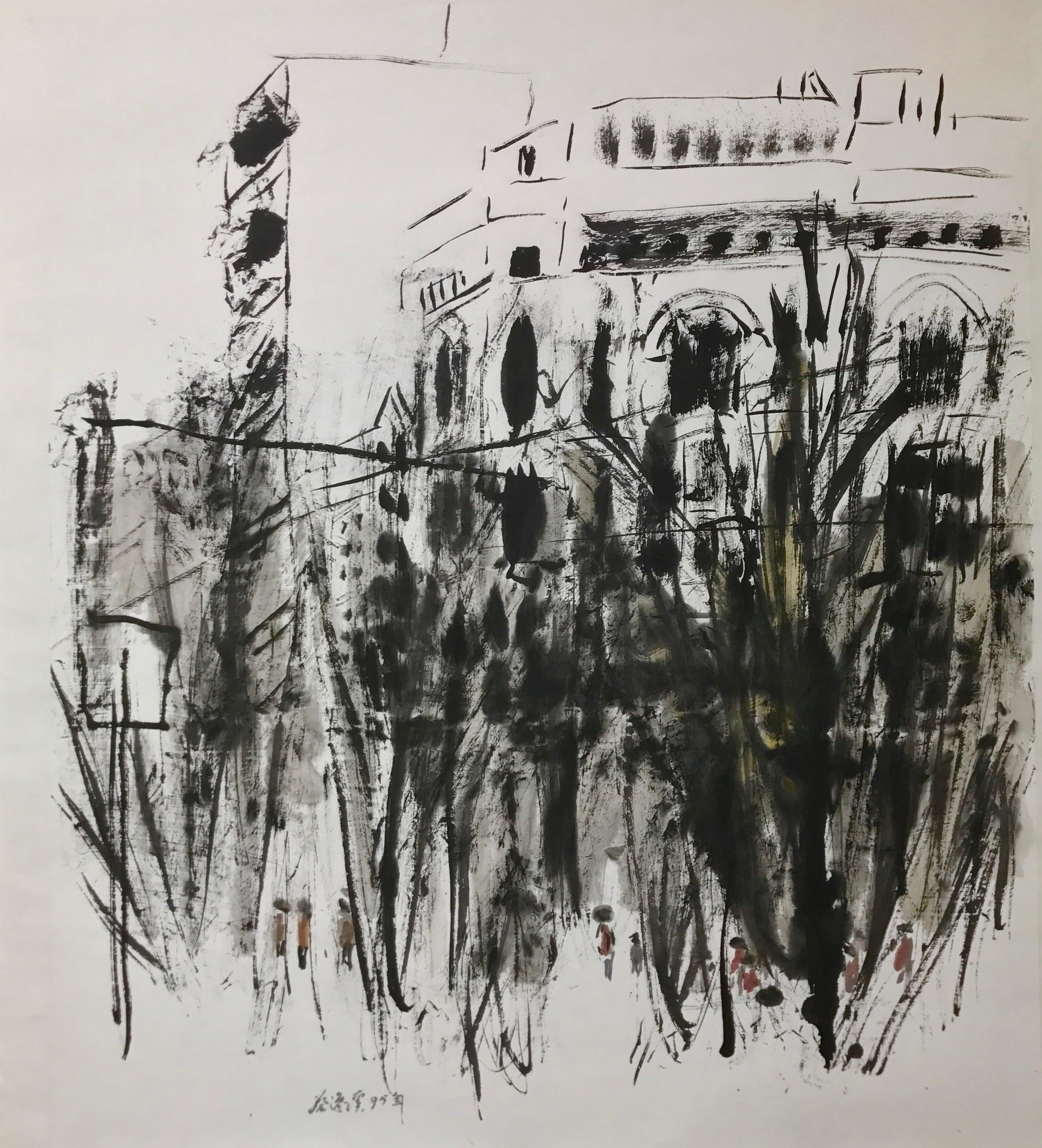 Chua Ek Kay, Street Scene, ink and colour on paper, 98 x 84 cm, 1995